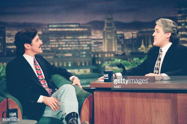 Talk show host Geraldo Rivera during an interview with host Jay Leno on April 28 1994