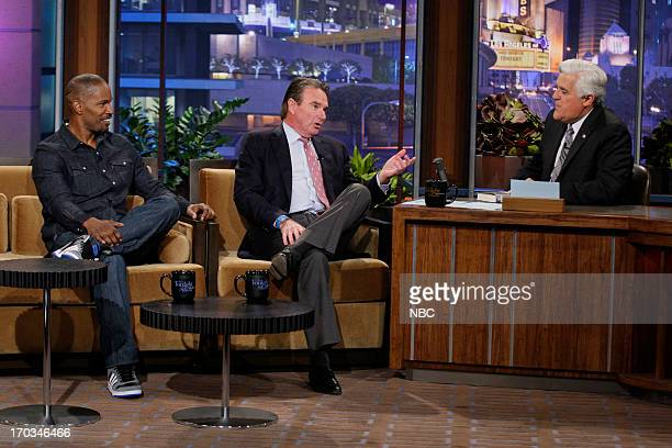 Actor Jamie Foxx tennis star Jimmy Connors during an interview with host Jay Leno on June 11 2013
