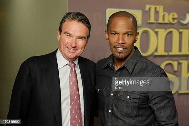 LENO Episode 4476 Pictured Tennis star Jimmy Connors and actor Jamie Foxx backstage on June 11 2013