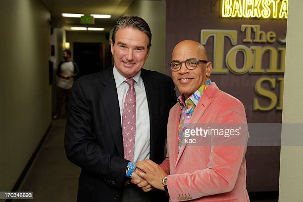 LENO Episode 4476 Pictured Tennis star Jimmy Connors and Tonight Show band leader Rickey Minor backstage on June 11 2013