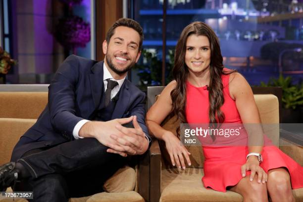 LENO Episode 4496 Pictured Actor Zachary Levi and Nascar driver Danica Patrick during a commerical break on July 16 2013