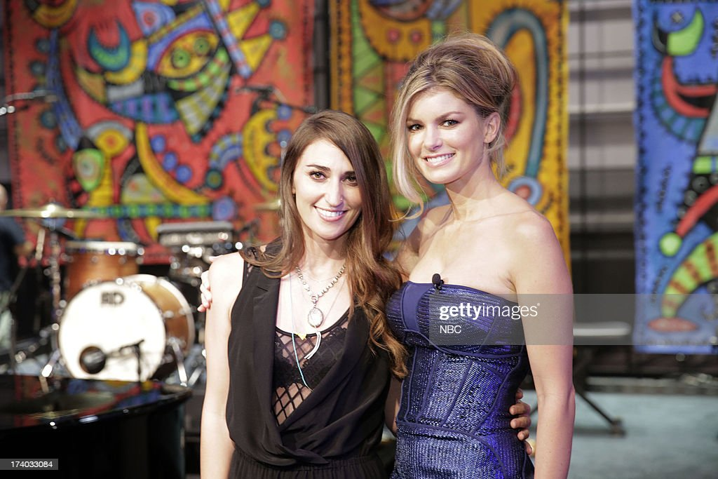 LENO -- (EXCLUSIVE COVERAGE) -- Episode 4499 -- Pictured: (l-r) Musical guest Sara Bareilles and supermodel Marisa Miller on July 19, 2013 --