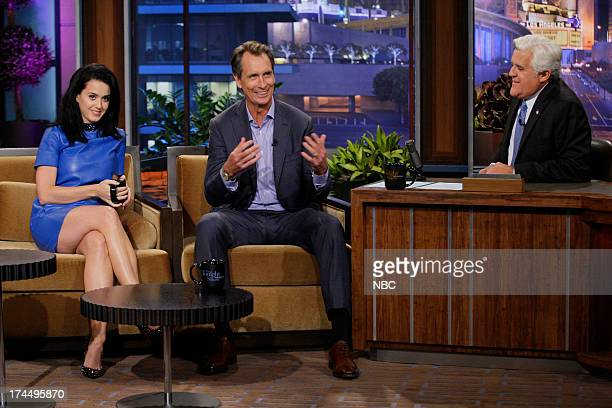 Singer Katy Perry and sportscaster Cris Collinsworth during an interview with host Jay Leno on July 23 2013