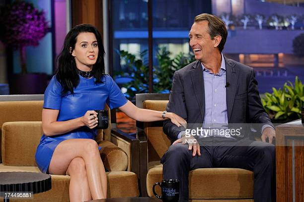 Singer Katy Perry and sportscaster Cris Collinsworth during an interview on July 23 2013