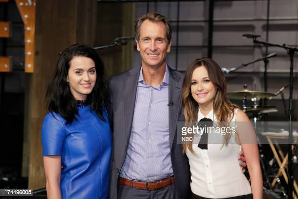 LENO Episode 4504 Pictured Singer Katy Perry sportscaster Cris Collinsworth and musical guest Kacey Musgraves on July 26 2013