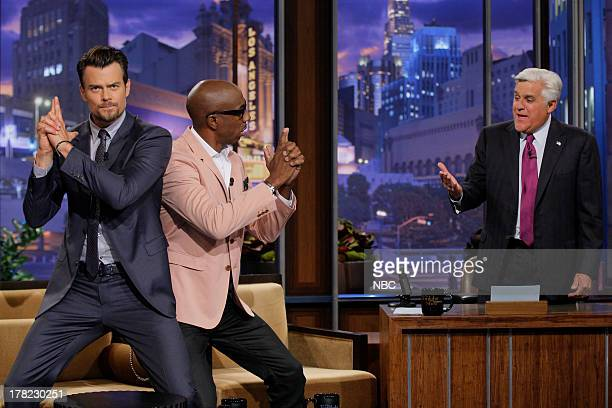 Actor Josh Duhamel and comedian JB Smoove during an interview with host Jay Leno on August 27 2013