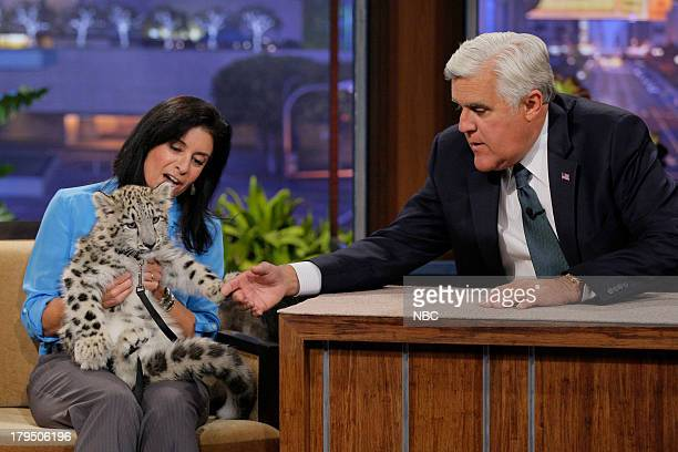 Busch Garden's animal expert Julie Scardina with a baby snow leopard during an interview with host Jay Leno on August 29 2013