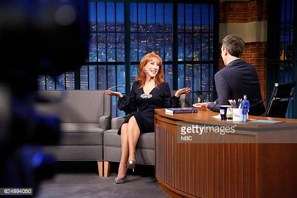 Comedian Kathy Griffin during an interview with host Seth Meyers on November 21 2016