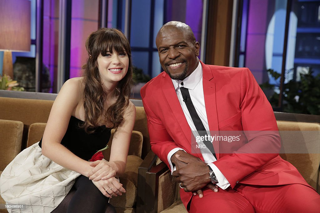 LENO -- (EXCLUSIVE COVERAGE) Episode 4528 -- Pictured: (l-r) Actress Zooey Deschanel, Actor Terry Crews during a commercial break on September 13, 2013 --