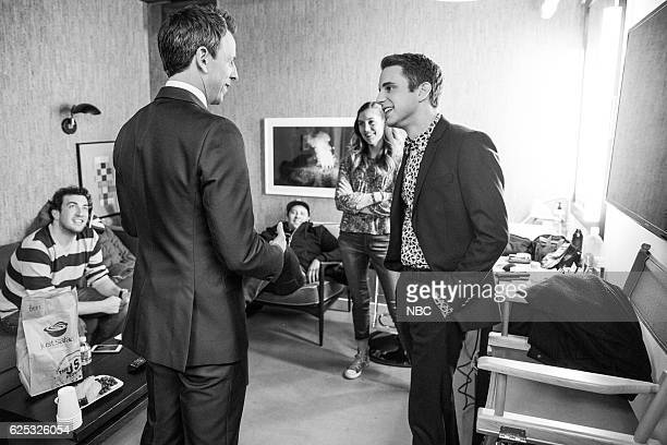 MEYERS Episode 453 Pictured Host Seth Meyers talks to actor Ben Platt backstage on November 22 2016