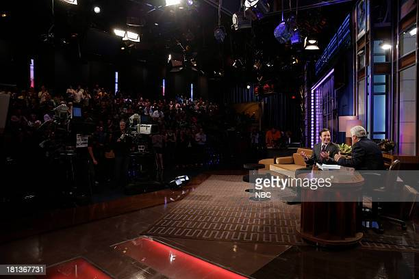 LENO Episode 4533 Pictured Jimmy Fallon and host Jay Leno talk during a commerical break on September 20 2013