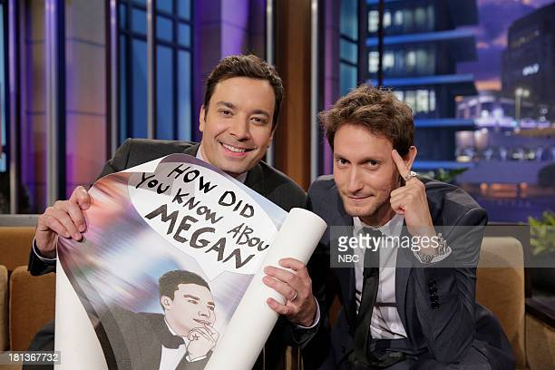 LENO Episode 4533 Pictured Jimmy Fallon and mentalist Lior Suchard during a commerical breka on September 20 2013