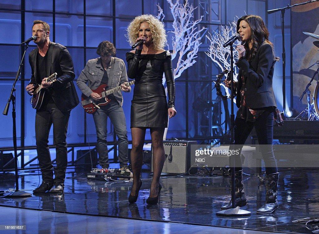 Musical guests Jimi Westbrook, Kimberly Schlapman, Karen Fairchild of Little Big Town perform on September 26, 2013 --