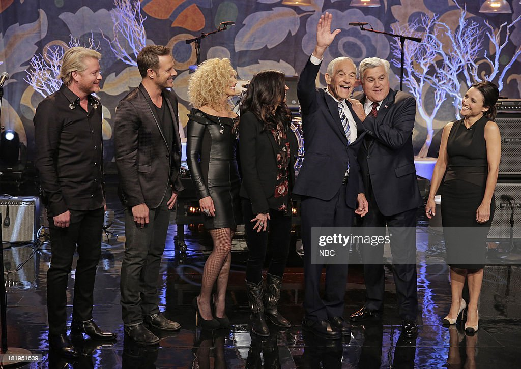 Musical guests Phillip Sweet, Kimberly Schlapman, Karen Fairchild of Little Big Town, Politician Ron Paul, host Jay Leno, Actress Julia Louis-Dreyfus onstage September 26, 2013 --