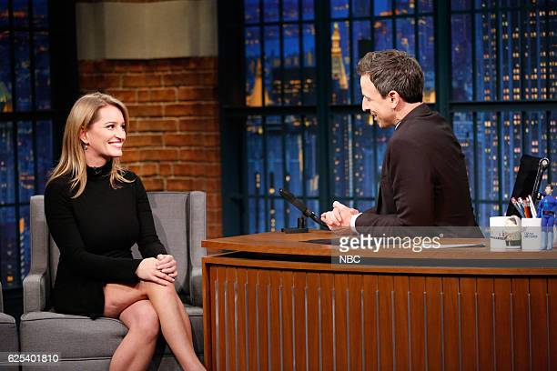 Journalist Katy Tur during an interview with host seth Meyers on November 23 2016