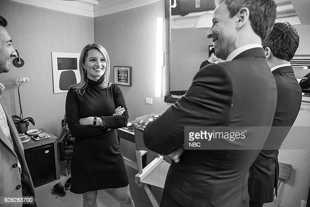 MEYERS Episode 454 Pictured NBC News correspondent Katy Tur talks with host Seth Meyers backstage on November 23 2016