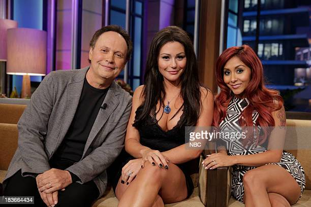 LENO Episode 4545 Pictured Comedian Billy Crystal Jennifer 'JWoww' Farley and Nicole 'Snooki' Polizzi during a commercial break on October 8 2013