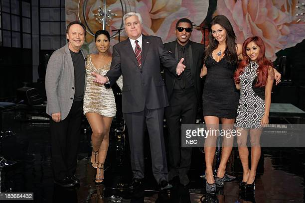 LENO Episode 4545 Pictured Comedian Billy Crystal Toni Braxton host Jay Leno Babyface Jennifer 'JWoww' Farley and Nicole 'Snooki' Polizzi on October...