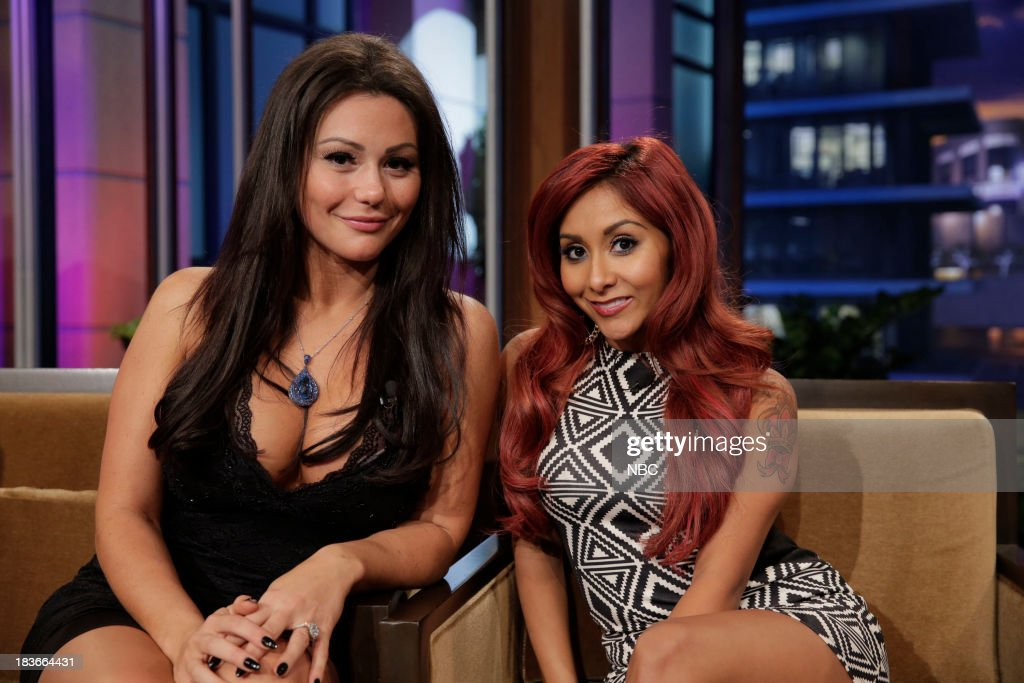 LENO -- Episode 4545 -- (EXCLUSIVE COVERAGE) -- Pictured: (l-r) Jennifer 'JWoww' Farley and Nicole 'Snooki' Polizzi during a commercial break on October 8, 2013 --