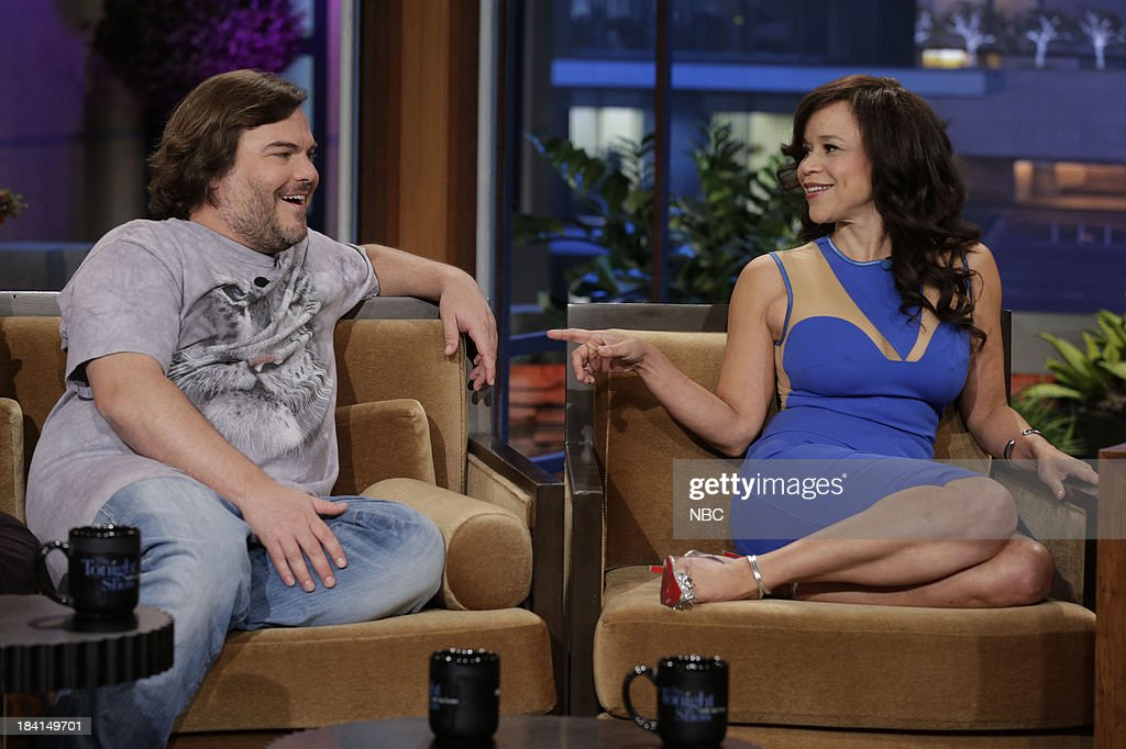 Jack Black of Tenacious D and actress Rosie Perez during an interview on October 11, 2013 --