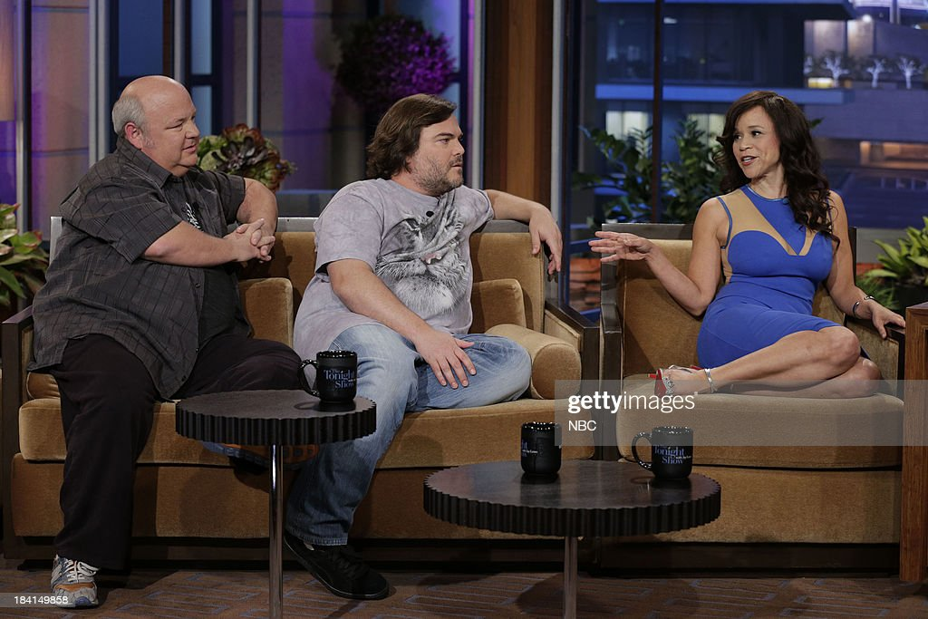 Kyle Gass, Jack Black of Tenacious D and actress Rosie Perez during an interview on October 11, 2013 --