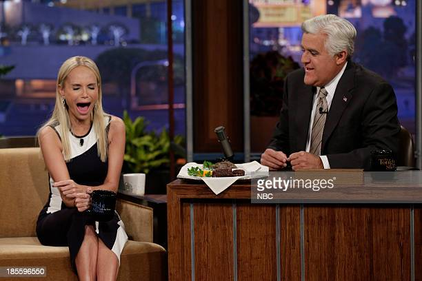 Actress Kristin Chenoweth eats haggis and blood sausage for charity during an interview with host Jay Leno on October 22 2013