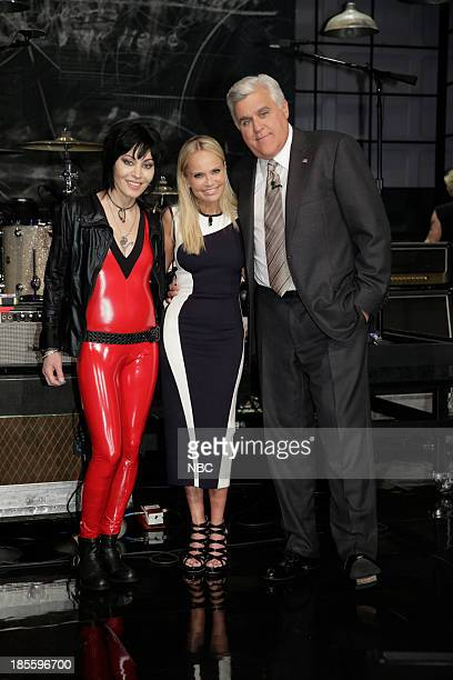 LENO Episode 4550 Pictured Joan Jett Kristin Chenoweth Jay Leno on October 22 2013