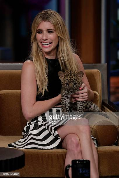 Actress Emma Roberts with an African leopard during an interview on October 24 2013