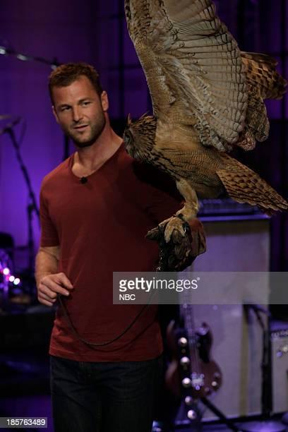 Animal expert Dave Salmoni with an owl on October 24 2013
