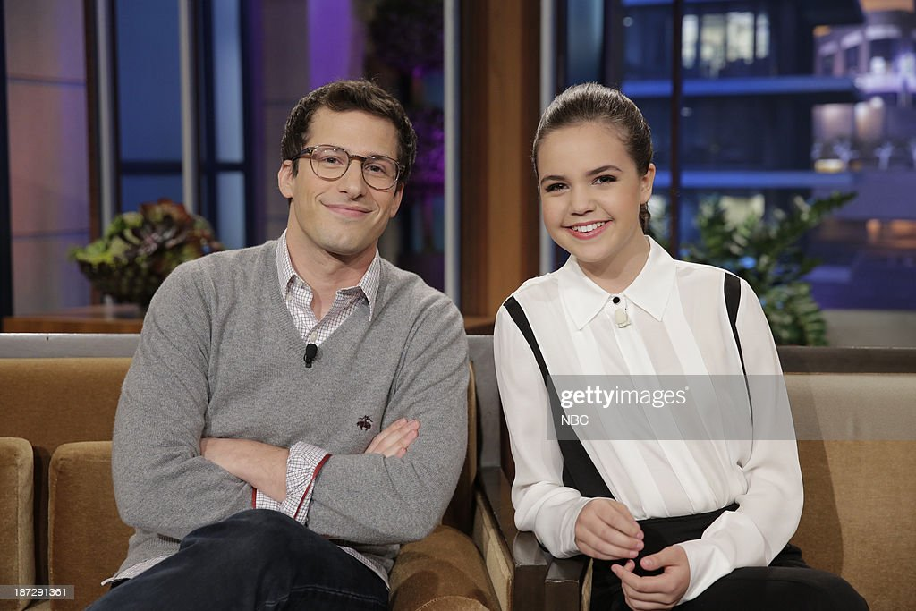 LENO -- Episode 4562 -- (EXCLUSIVE COVERAGE) -- Pictured: (l-r) Actor Andy Samberg and actress Bailee Madison during a commercial break on November 7, 2013 --