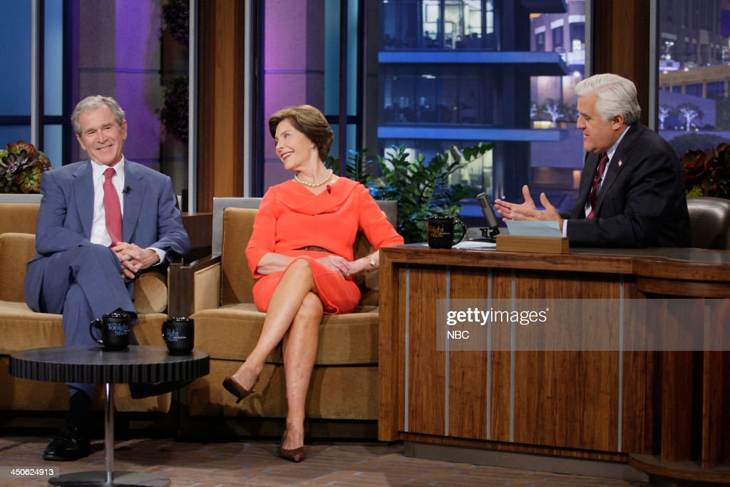 Former President George W. Bush, Former First Lady Laura Bush during an interview with host Jay Leno on November 19, 2013 --