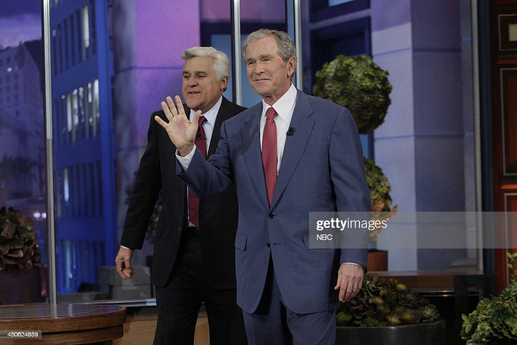 Host Jay Leno greets Former President George W. Bush on November 19, 2013 --