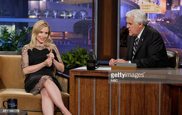 Actress Kristen Bell during an interview with host Jay Leno on November 21 2013
