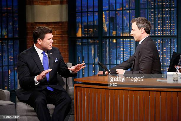 Episode 459 -- Pictured: News anchor, Bret Baier, during an interview with host Seth Meyers on December 8, 2016 --