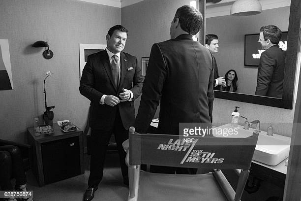 Episode 459 -- Pictured: News anchor, Bret Baier, talks with host Seth Meyers on December 8, 2016 --