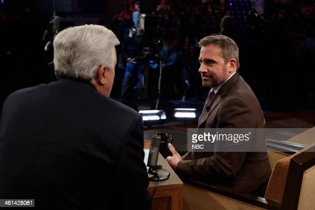 LENO Episode 4590 Pictured Host Jay Leno talks with actor Steve Carell during a commercial break on January 8 2014