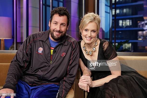 LENO Episode 4598 Pictured Comedians Adam Sandler and Ali Wentworth during a commerical break on January 21 2014