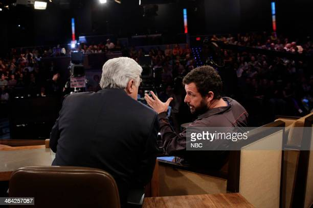 LENO Episode 4598 Pictured Host Jay Leno talks with comedian Adam Sandler on January 21 2014