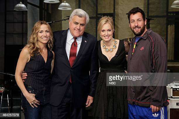 LENO Episode 4598 Pictured Musical guest Sheryl Crow host Jay Leno comedian Ali Wentworth and Adam Sandler on January 21 2014