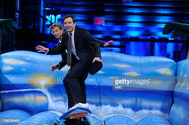 FALLON Episode 46 Airdate Pictured Actor Simon Baker during a surf lesson with host Jimmy Fallon on May 18 2009