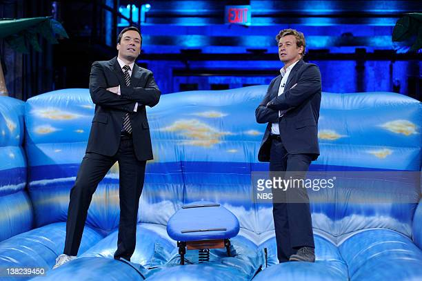 FALLON Episode 46 Airdate Pictured Host Jimmy Fallon during a surf lesson with actor Simon Baker on May 18 2009