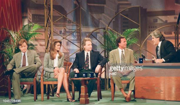 Episode 460 -- Pictured: Comedian Conan O'Brien, Actress Cindy Crawford, comedian Bill Maher and singer Julio Iglesias during an interview with host...