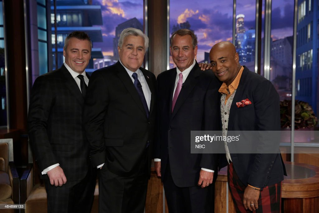 LENO -- Episode 4600 -- (EXCLUSIVE COVERAGE) -- Pictured: (l-r) Actor Matt LeBlanc, host Jay Leno, Speaker of the House, John Boeehner and musical guest Dorian Holley on January 23, 2014 --