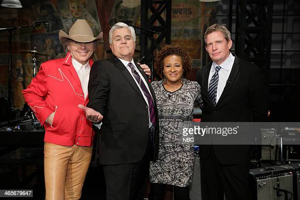 LENO Episode 4602 Pictured Musical guest Dwight Yoakam host Jay Leno comedian Wanda Sykes and actor Thomas Haden Church on January 28 2014