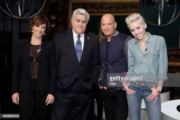 LENO Episode 4605 Pictured Musical guest Sarah McLachlan host Jay Leno comedian Howie Mandel and singer Miley Cyrus on January 30 2014