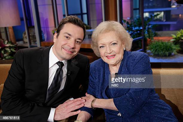 LENO Episode 4607 Pictured Jimmy Fallon and actress Betty White during a commercial break on February 3 2014