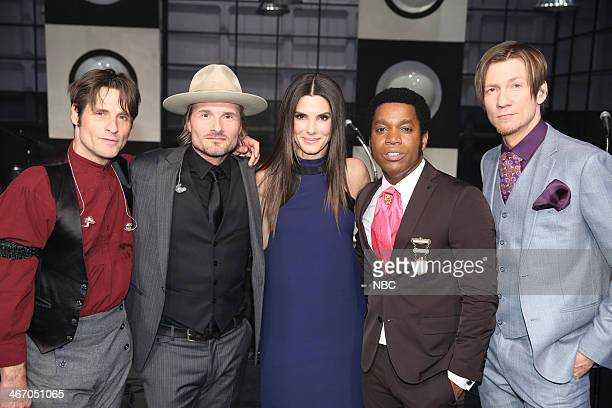 LENO Episode 4609 Pictured Actress Sandra Bullock with Richard Danielson Nalle Colt Ty Taylor and Rick Barrio Dill of musical guest Vintage Trouble...
