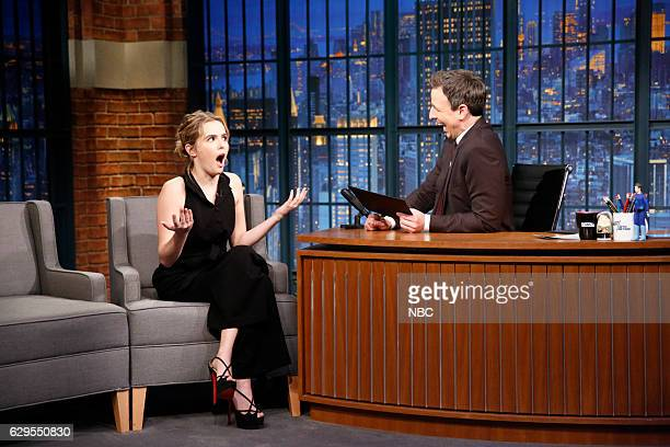 Actress Zoey Deutch during an interview with host Seth Meyers on December 13 2016
