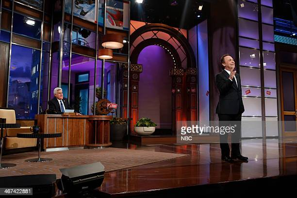 Host Jay Leno watches as actor Billy Crystal reminisces about his 22 year run as Tonight Show host on February 6 2014