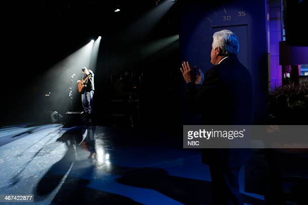 Host Jay Leno watches as musical guest Garth Brooks performs on February 6 2014